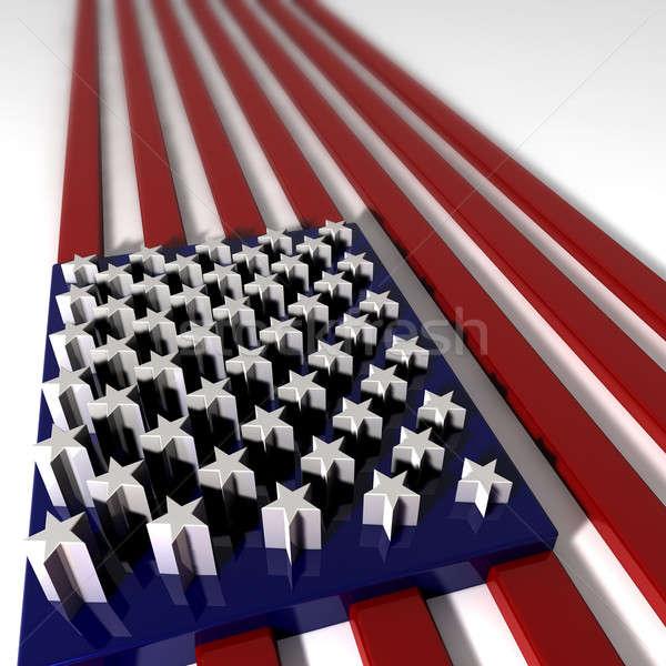 Three Dimentional Extruded USA Flag Stock photo © albund