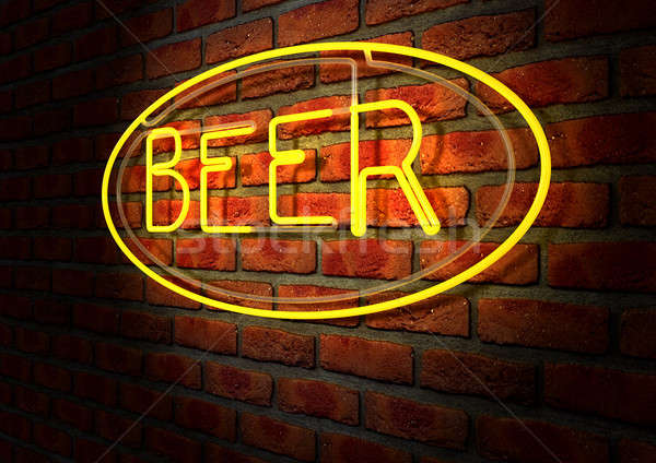 Neon Beer Sign on A Face Brick Wall Stock photo © albund