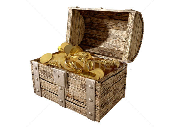 Treasure Chest With Gold Perspective Stock photo © albund
