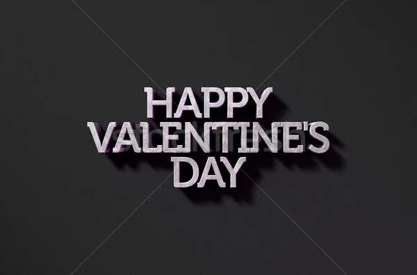 Happy Valentines Text On Black Stock photo © albund