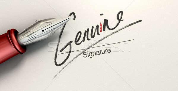 Stock fotó: Eredeti · hamisítvány · aláírás · megtévesztő · mutat · toll