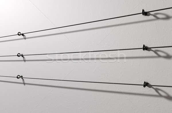 Staal kabel display muur 3d render witte Stockfoto © albund