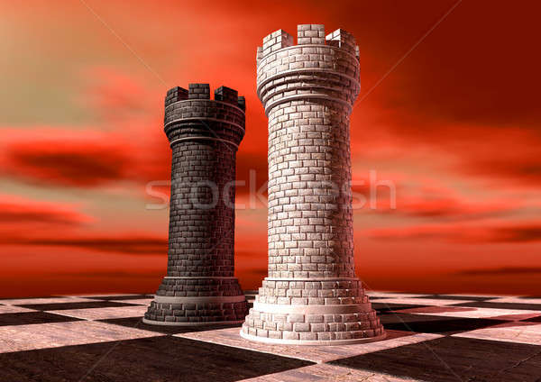 Black And White Chess Castles Square Off Stock photo © albund