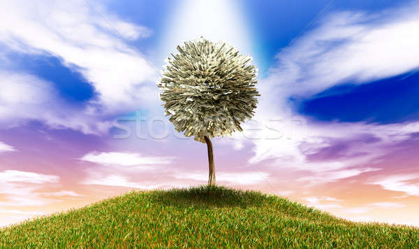 Stylised Money Tree American Dollar Notes On Grassy Hill Stock photo © albund