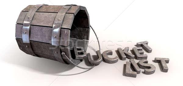 Emmer lijst bekoring brieven metaal vintage Stockfoto © albund