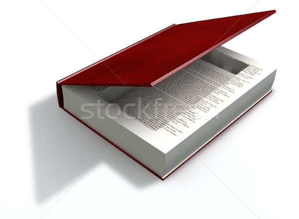 Holte boek Rood lege gesneden Stockfoto © albund
