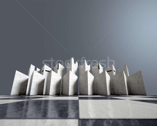 現代 チェス セット 3dのレンダリング ミニマリスト 開始 ストックフォト © albund