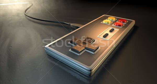 Klasszikus számítógépes játékok rendszeres négyszögletes piros citromsárga Stock fotó © albund