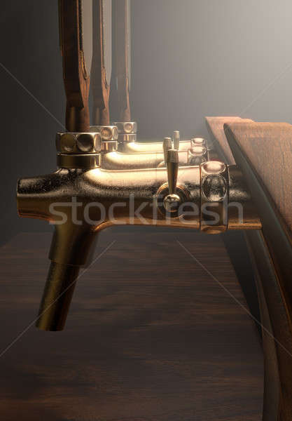Bier tik rij hout messing geïsoleerd Stockfoto © albund