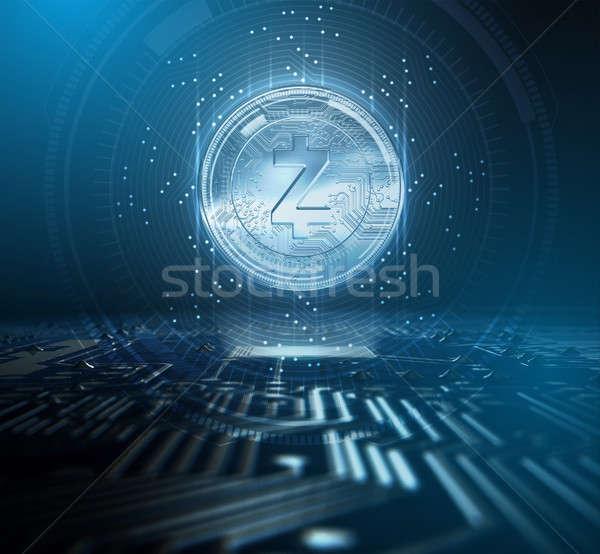 плате голограмма монеты форме компьютер футуристический Сток-фото © albund