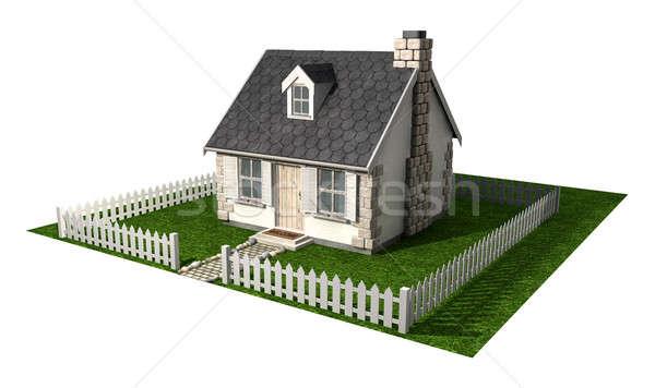 Foto stock: Casa · de · campo · casa · jardim · cerca · pequeno · pedra