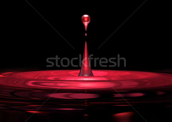 Red Droplet Of Liquid Close Up Stock photo © albund