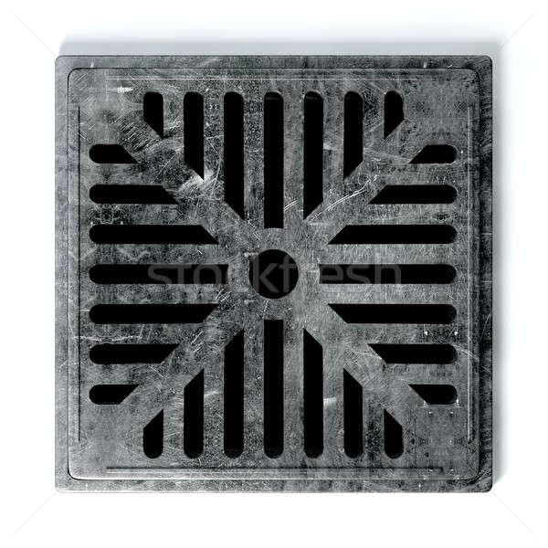 Drenażu otwór okładka metal odizolowany Zdjęcia stock © albund