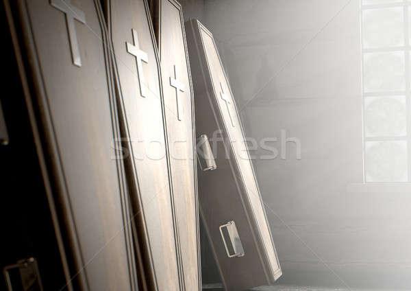 Kist rij kamer houten muur licht Stockfoto © albund