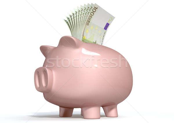 Piggy Bank Saving European Euros Stock photo © albund