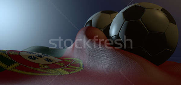 Portugal Flag And Soccer Ball Stock photo © albund