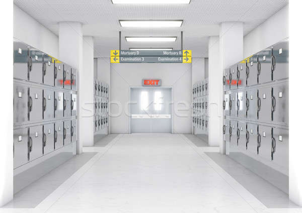 A look down the aisle of fridges in a clean white ward in a mortuary - 3D render Stock photo © albund