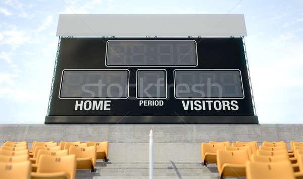 Spor stadyum sayı tahtası ekran üzerinde gün Stok fotoğraf © albund