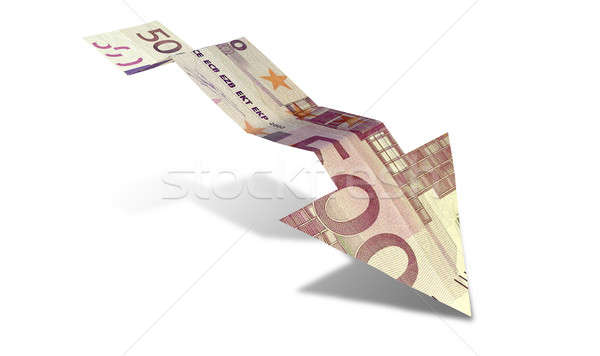 Euro bank nota trend pijl grafiek Stockfoto © albund