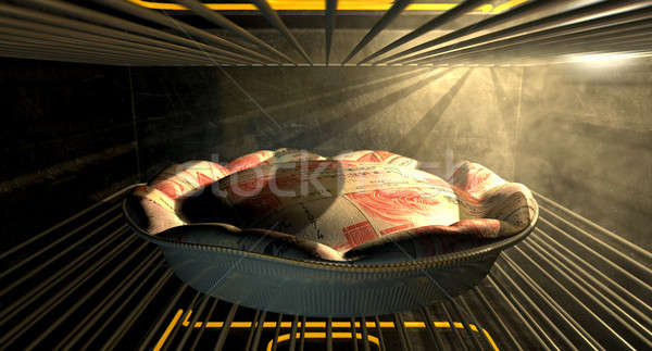Hong Kong Dollar Money Pie Baking In The Oven Stock photo © albund