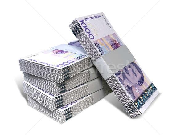 ノルウェーの ノート スタック 孤立した 現金 ストックフォト © albund