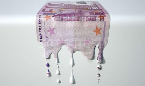 Euro Melting Dripping Banknote Stock photo © albund