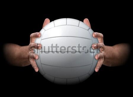 Kezek lebilincselő kosárlabda pár férfi futurisztikus Stock fotó © albund