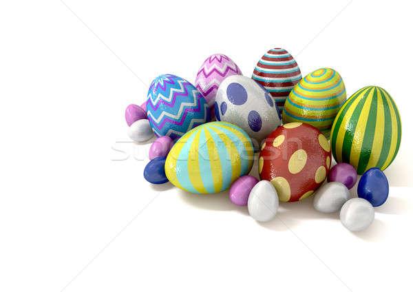 Paskalya yumurtası cemaat toplama kapalı çikolata yumurta Stok fotoğraf © albund