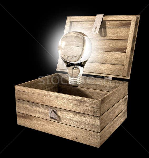 Thinking Outside The Box Lightbulb Stock photo © albund