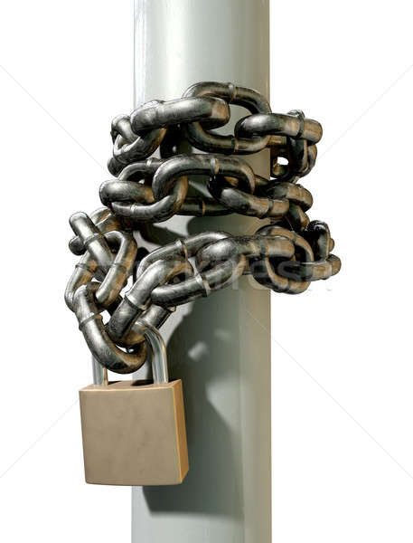 Wrapped Chain And Padlock Side Stock photo © albund