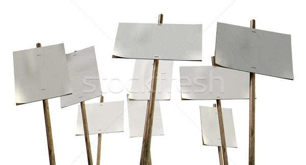 Blank Strikers Picket Plackards Stock photo © albund