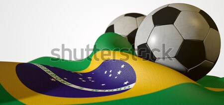 Brazilian Flag And Soccer Ball Stock photo © albund