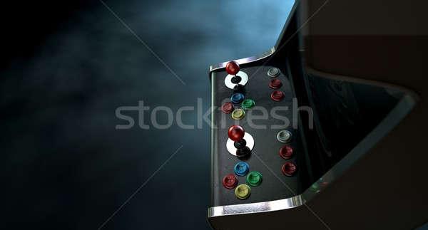 Gép drámai kilátás klasszikus játék gombok Stock fotó © albund