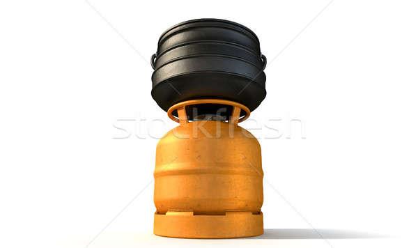 Gas Burner With Potjie Pot Stock photo © albund