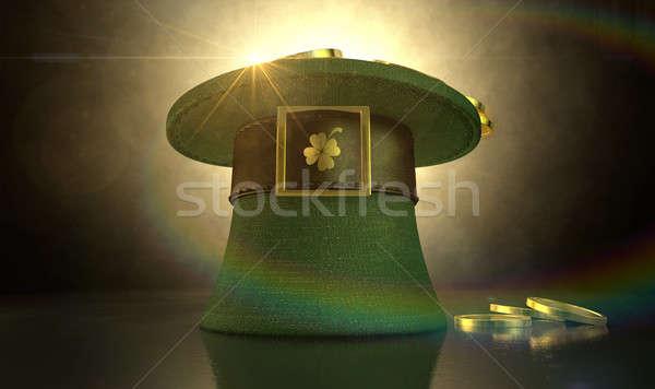 Stock fotó: Zöld · manó · kalap · arany · érmék · anyag · barna
