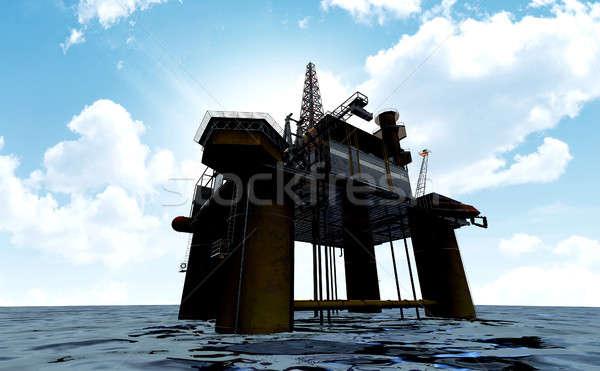 буровая регулярный мнение из морем синий Сток-фото © albund