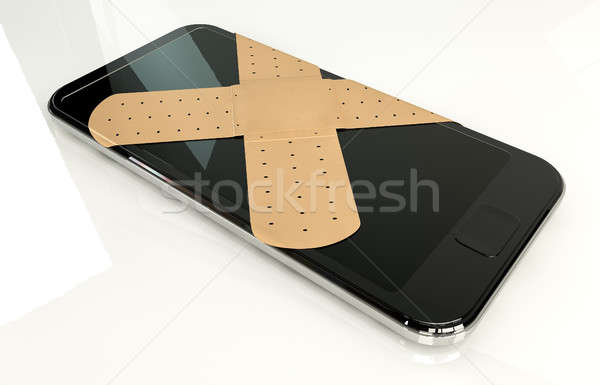 Generic Smart Phone With Band Aids Stock photo © albund