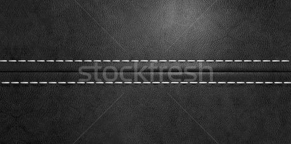 Black Leather Stitched Seam Stock photo © albund
