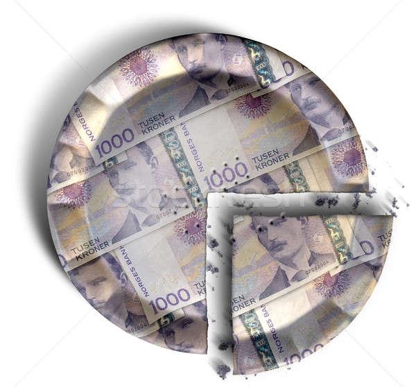 Slice Of Norwegian Kronor Money Pie Stock photo © albund