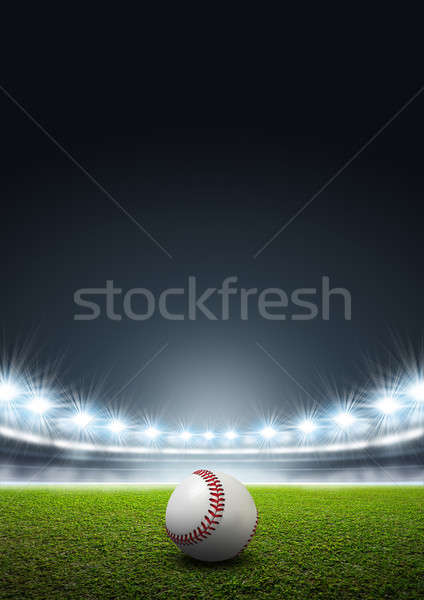 Generic Floodlit Stadium With Baseball Stock photo © albund