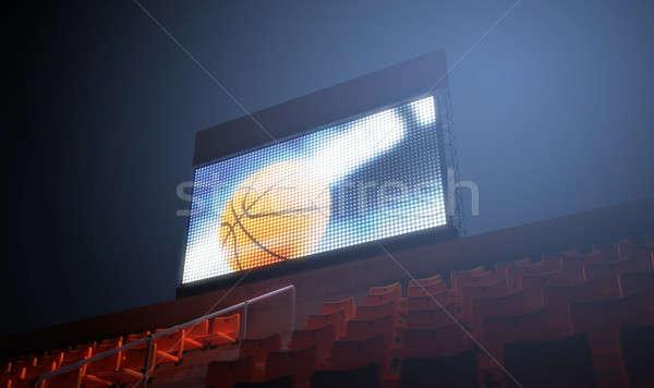 Sport stadion scorebord verlicht groot scherm Stockfoto © albund