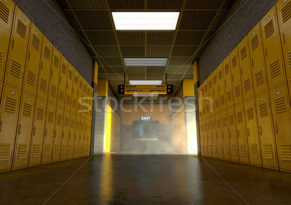 Yellow School Lockers Dirty Stock photo © albund