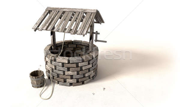 Wishing Well With Wooden Bucket And Rope Stock photo © albund