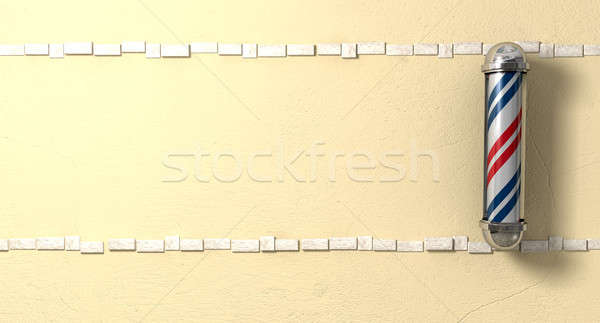 Barbers Poll Mounted On A Wall Front Stock photo © albund