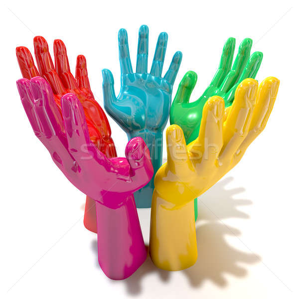 Hands Colorful Circle Reaching Skyward Stock photo © albund