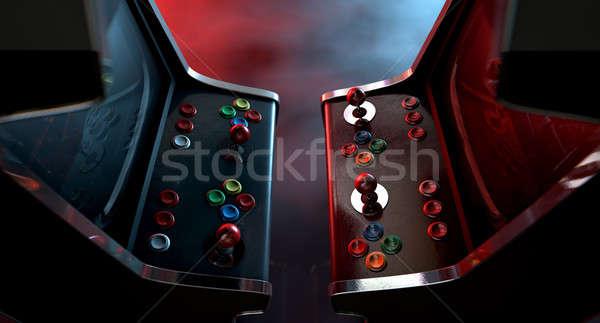 машина дуэль два Vintage играх Кнопки Сток-фото © albund