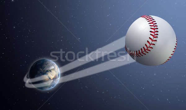 Earth With Ball Swoosh In Space Stock photo © albund