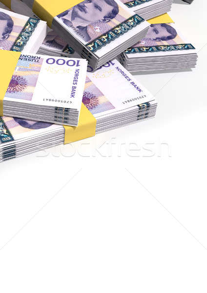 Norwegian Krone Notes Scattered Pile Stock photo © albund