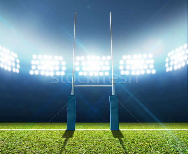 Rugby Stadium And Posts Stock photo © albund