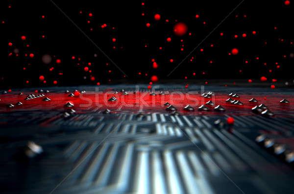 Makro płytce drukowanej zakażenie 3d widoku czerwony Zdjęcia stock © albund